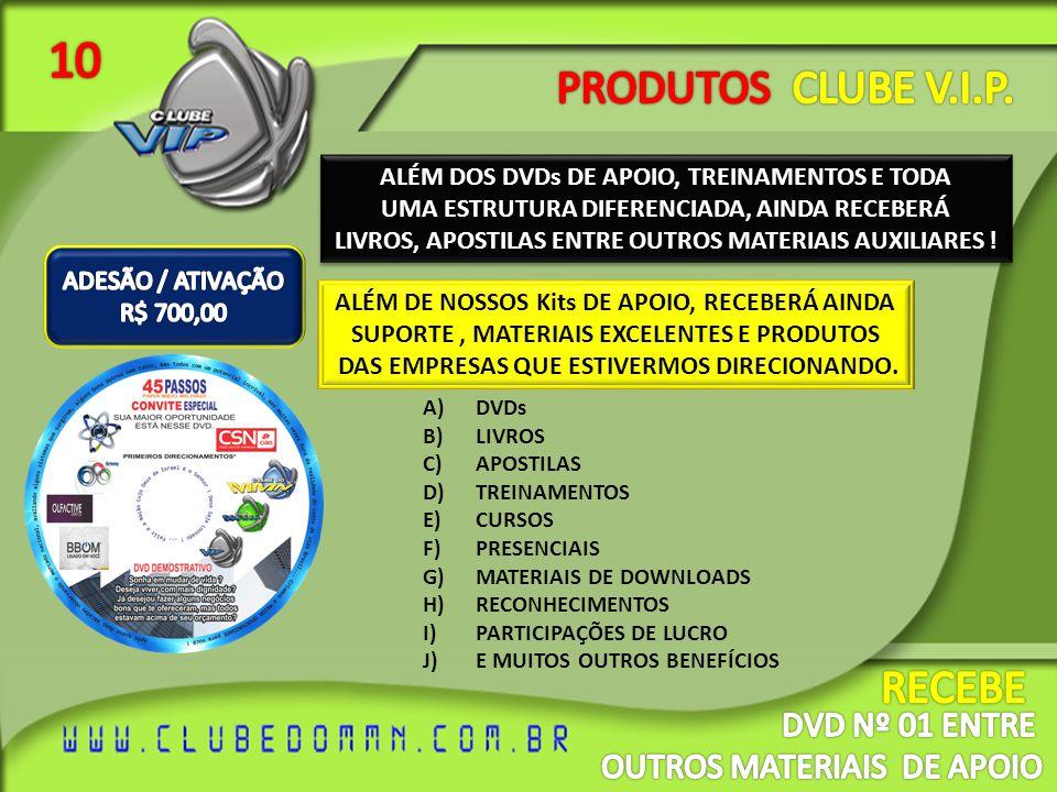 10 PRODUTOS CLUBE V.I.P. RECEBE DVD Nº 01 ENTRE