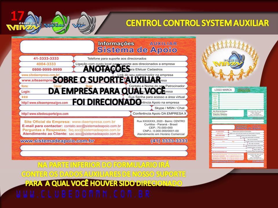 17 CENTROL CONTROL SYSTEM AUXILIAR ANOTAÇÕES SOBRE O SUPORTE AUXILIAR
