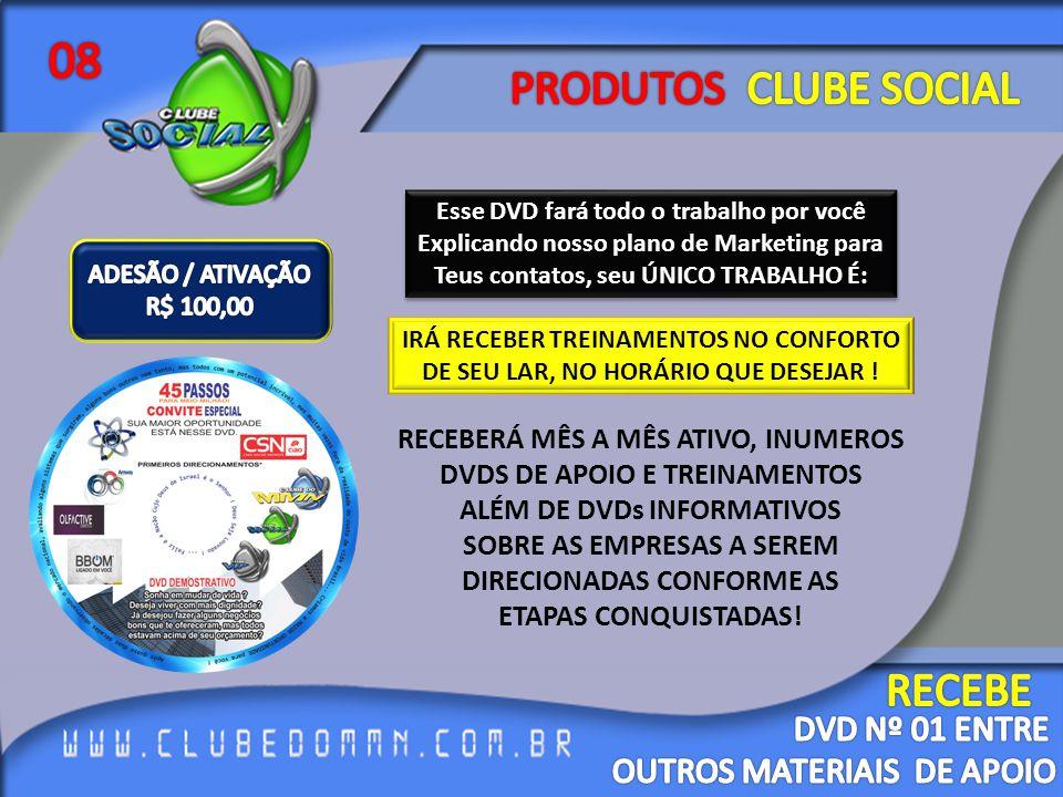 08 PRODUTOS CLUBE SOCIAL RECEBE DVD Nº 01 ENTRE