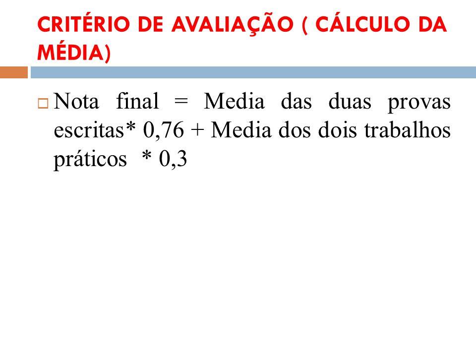 CRITÉRIO DE AVALIAÇÃO ( CÁLCULO DA MÉDIA)