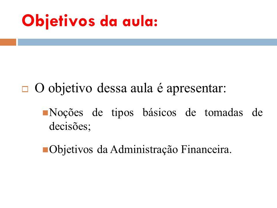 Objetivos da aula: O objetivo dessa aula é apresentar: