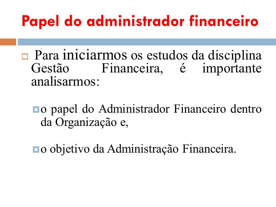 Papel do administrador financeiro