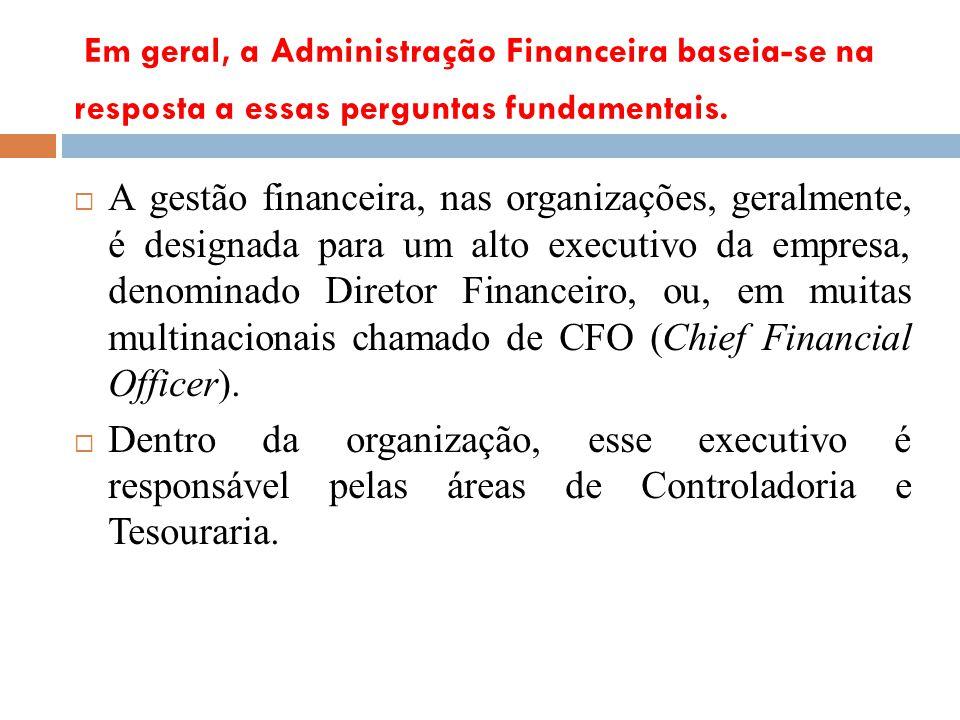 Em geral, a Administração Financeira baseia-se na resposta a essas perguntas fundamentais.