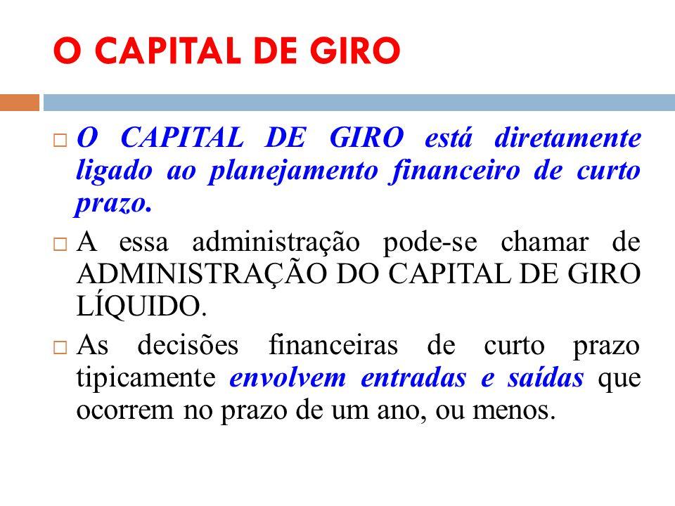 O CAPITAL DE GIRO O CAPITAL DE GIRO está diretamente ligado ao planejamento financeiro de curto prazo.
