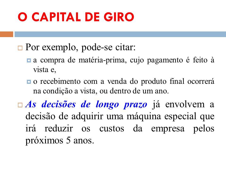 O CAPITAL DE GIRO Por exemplo, pode-se citar: