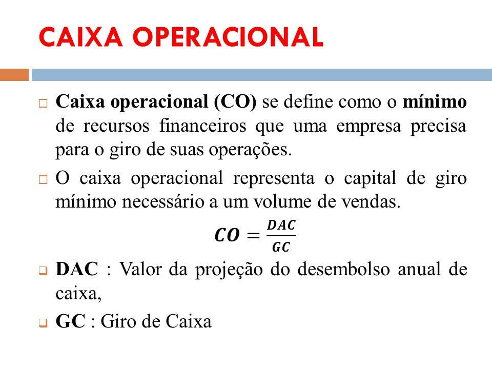 CAIXA OPERACIONAL Caixa operacional (CO) se define como o mínimo de recursos financeiros que uma empresa precisa para o giro de suas operações.
