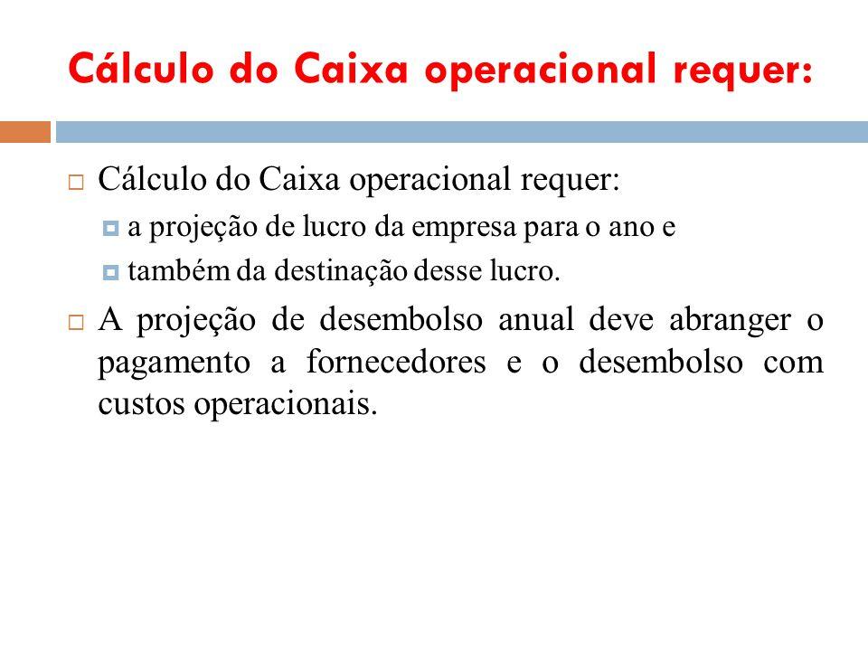Cálculo do Caixa operacional requer: