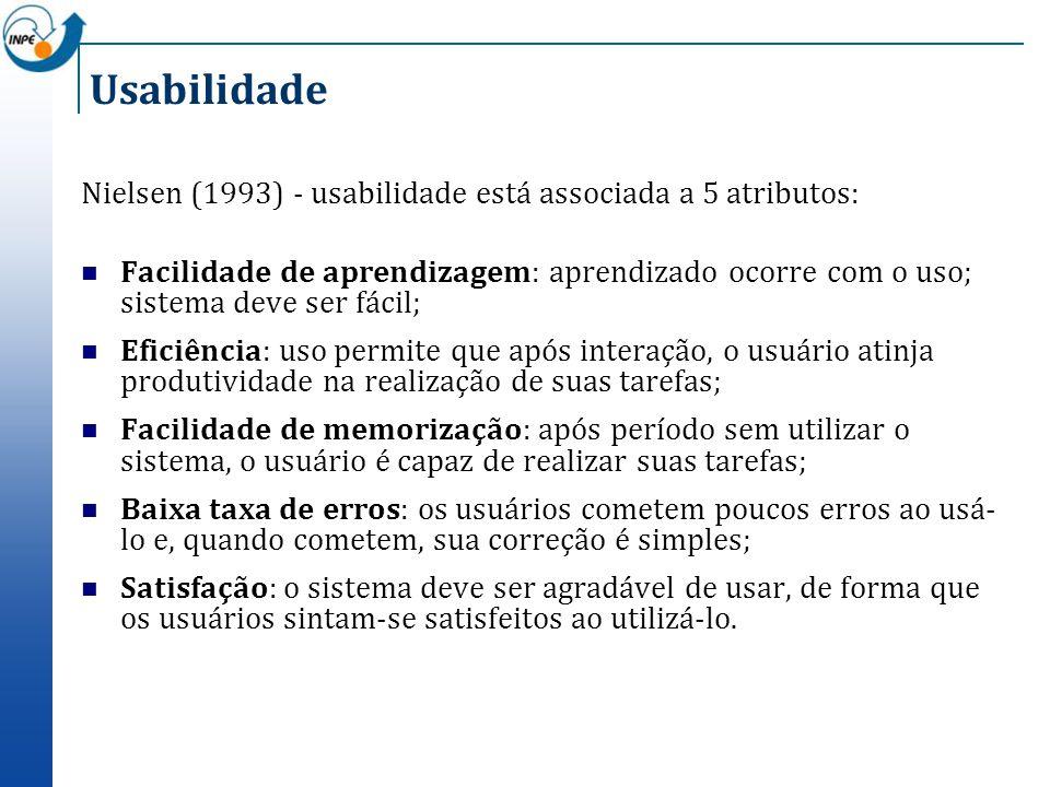 Usabilidade Nielsen (1993) - usabilidade está associada a 5 atributos: