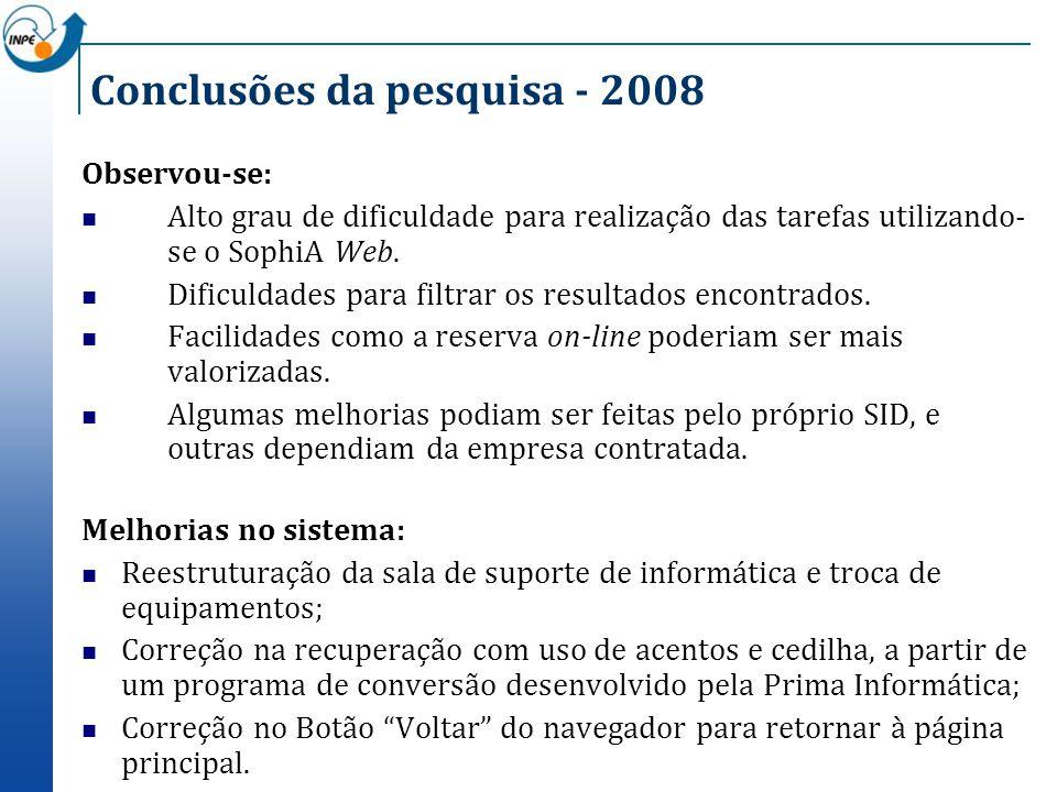Conclusões da pesquisa - 2008