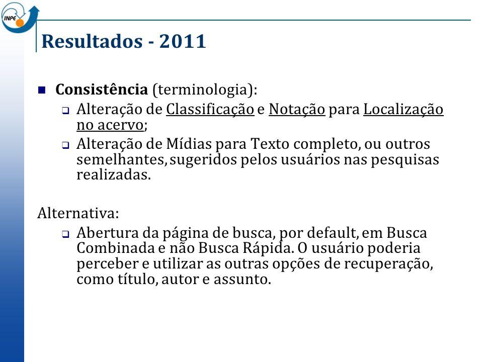 Resultados - 2011 Consistência (terminologia):