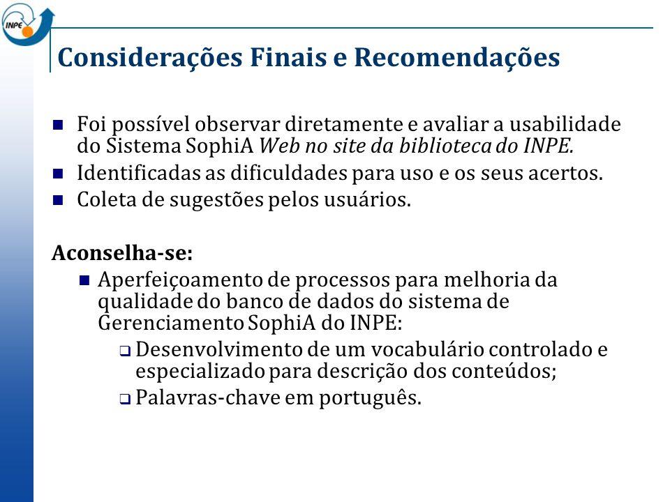 Considerações Finais e Recomendações