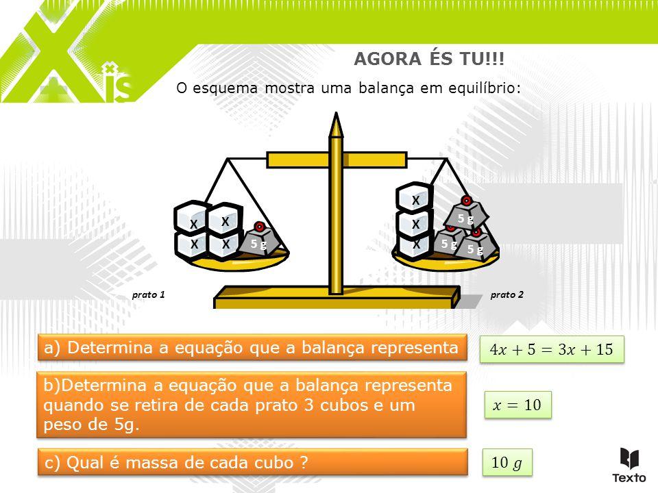 AGORA ÉS TU!!! a) Determina a equação que a balança representa