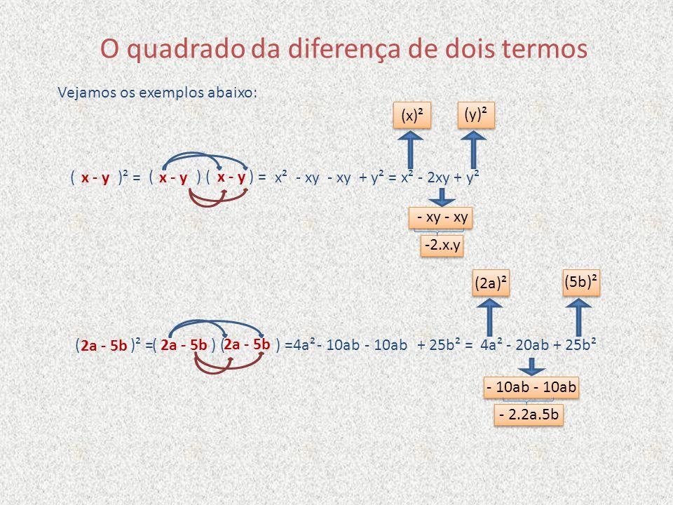 O quadrado da diferença de dois termos