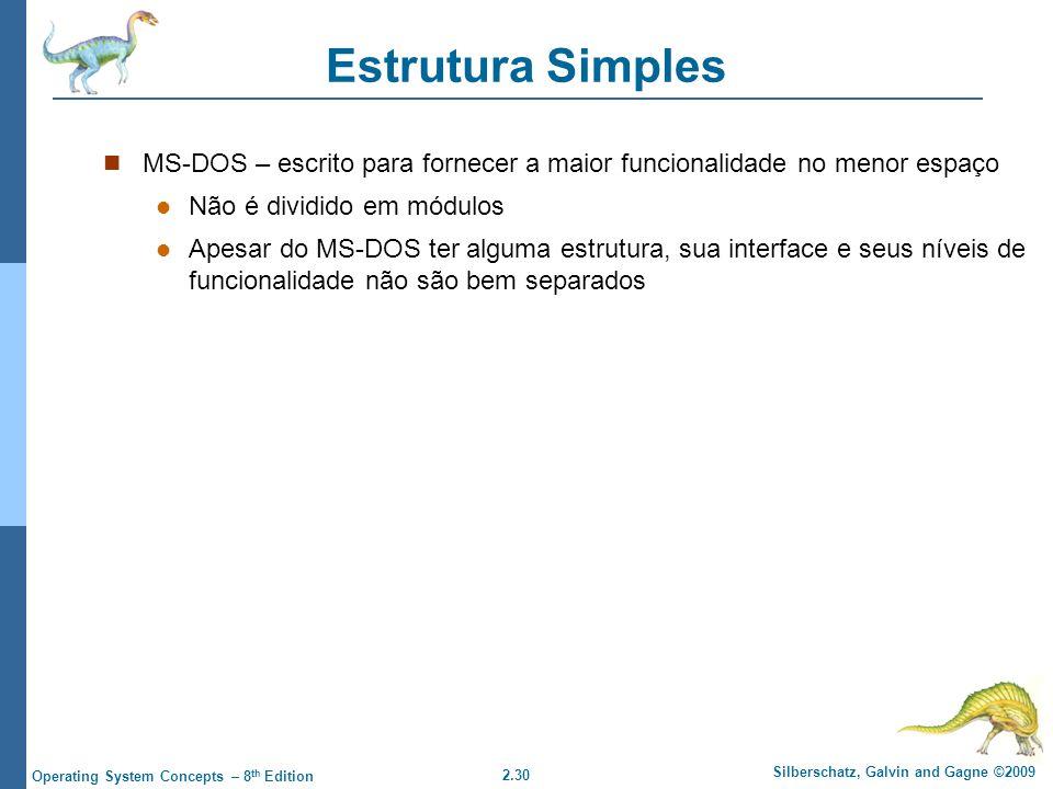 Estrutura Simples MS-DOS – escrito para fornecer a maior funcionalidade no menor espaço. Não é dividido em módulos.