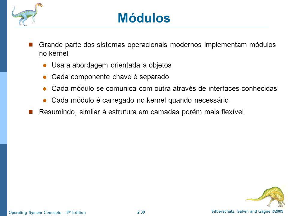Módulos Grande parte dos sistemas operacionais modernos implementam módulos no kernel. Usa a abordagem orientada a objetos.
