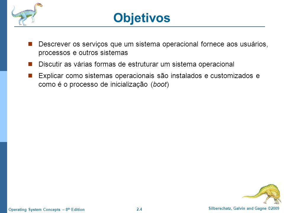 Objetivos Descrever os serviços que um sistema operacional fornece aos usuários, processos e outros sistemas.
