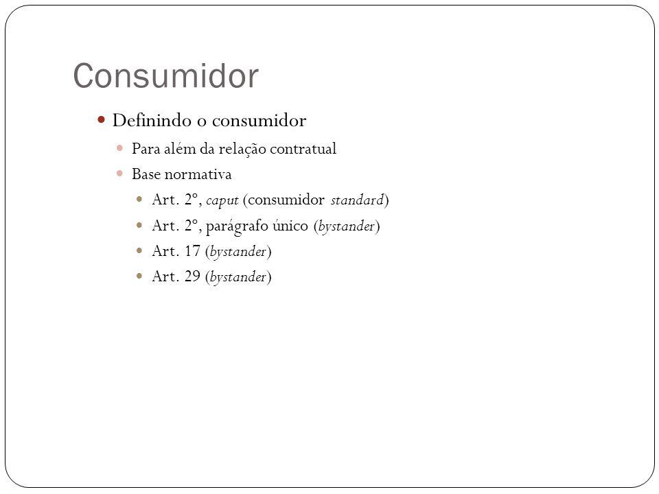 Consumidor Definindo o consumidor Para além da relação contratual
