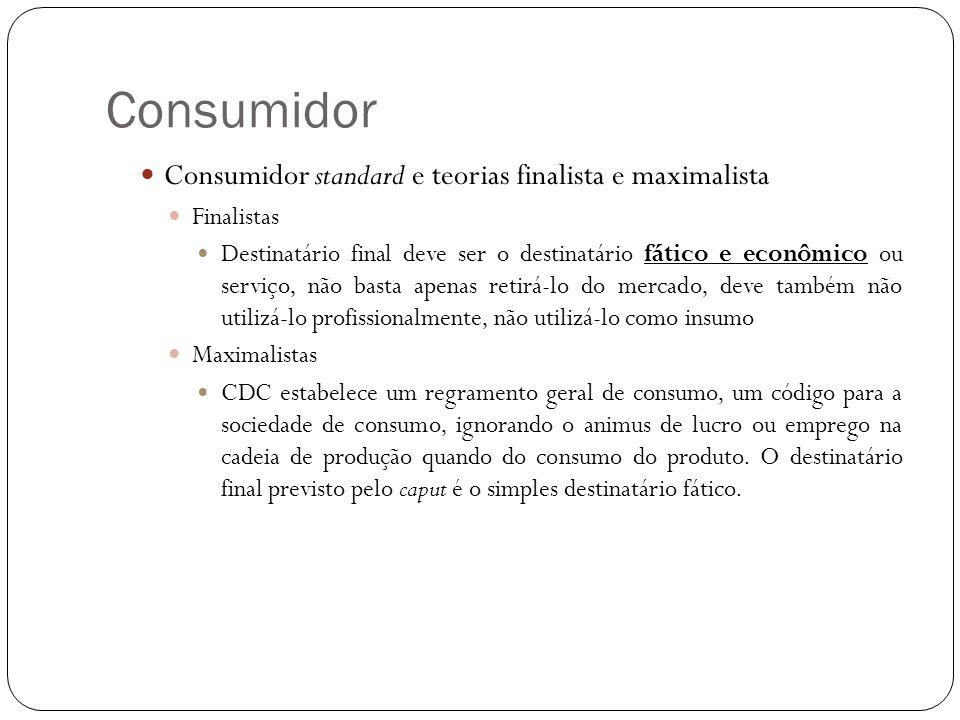 Consumidor Consumidor standard e teorias finalista e maximalista