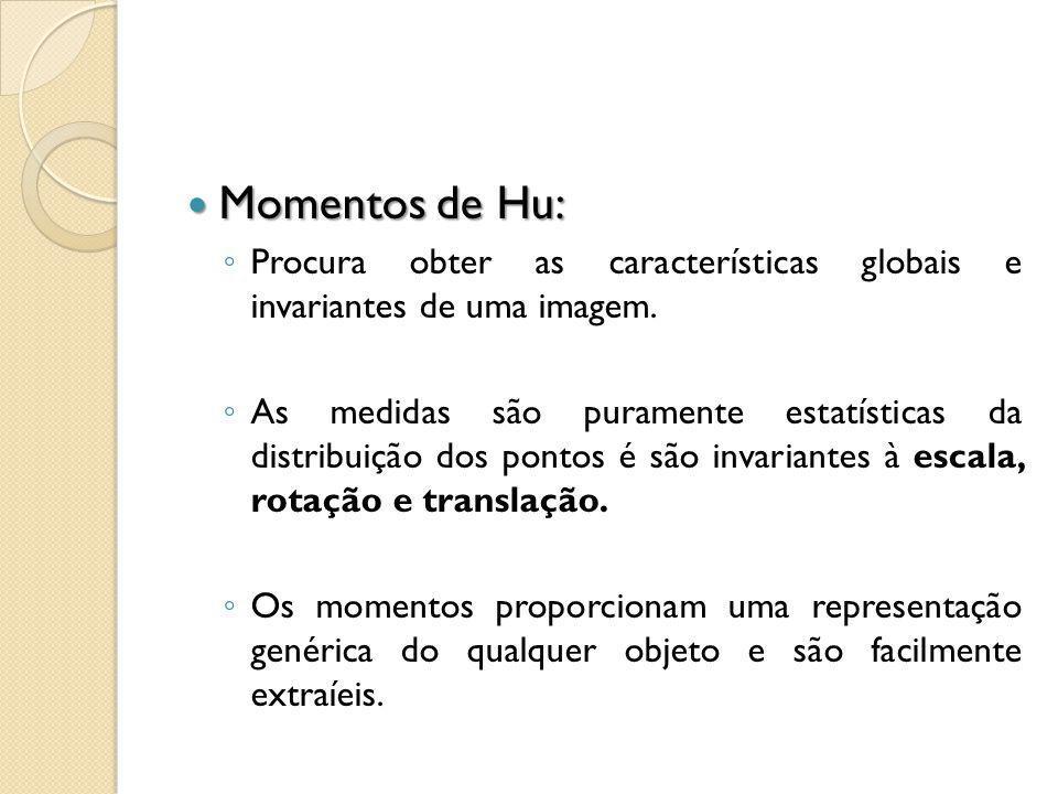 Momentos de Hu: Procura obter as características globais e invariantes de uma imagem.