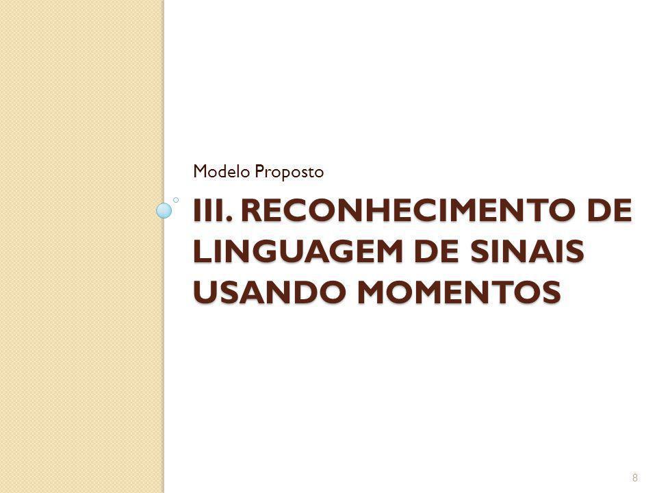 III. Reconhecimento de linguagem de sinais usando momentos
