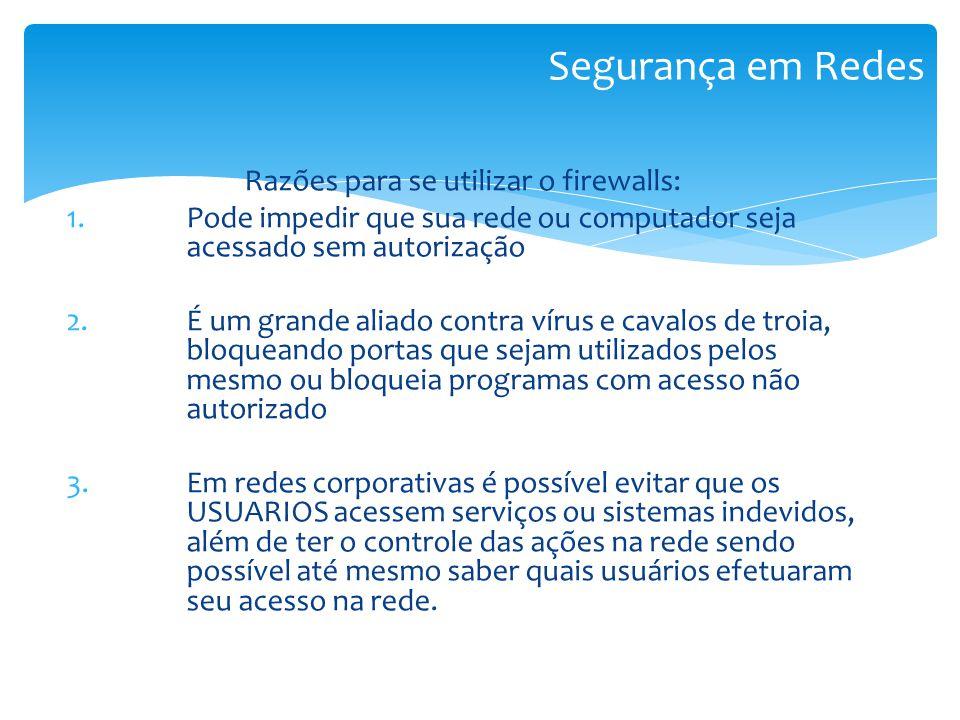 Razões para se utilizar o firewalls: