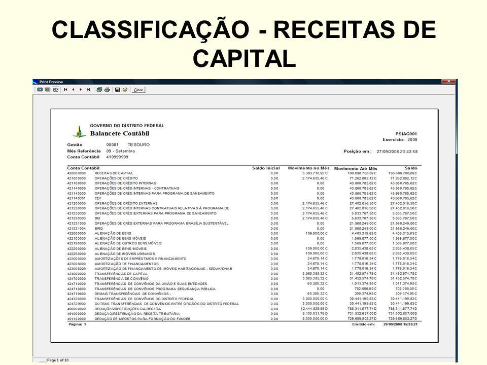 CLASSIFICAÇÃO - RECEITAS DE CAPITAL