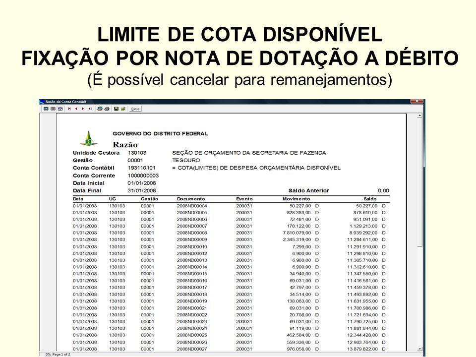 LIMITE DE COTA DISPONÍVEL FIXAÇÃO POR NOTA DE DOTAÇÃO A DÉBITO (É possível cancelar para remanejamentos)