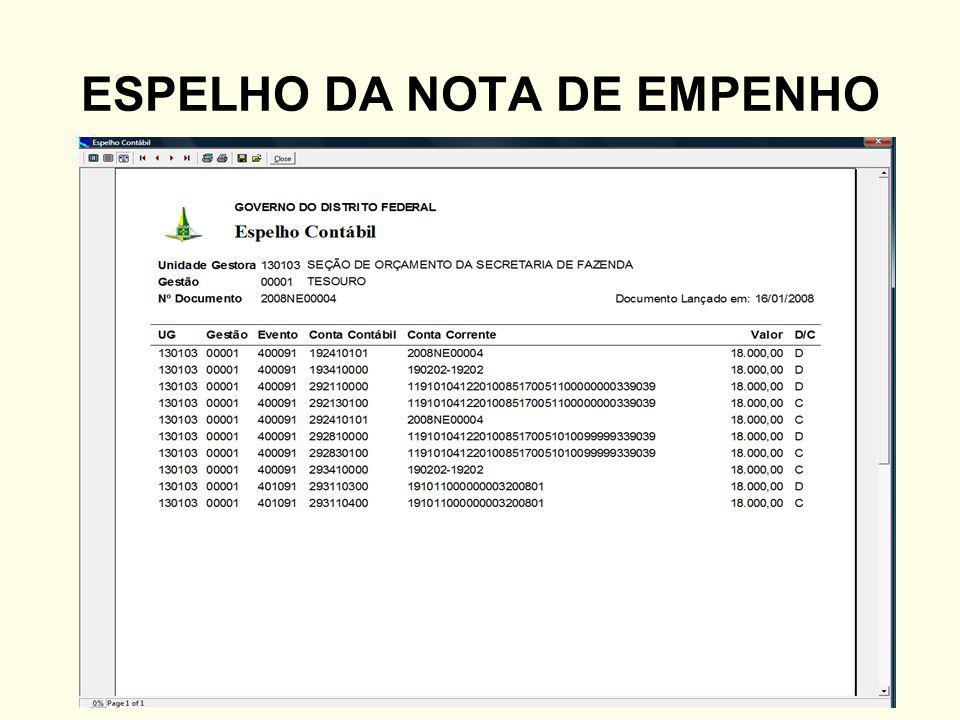ESPELHO DA NOTA DE EMPENHO