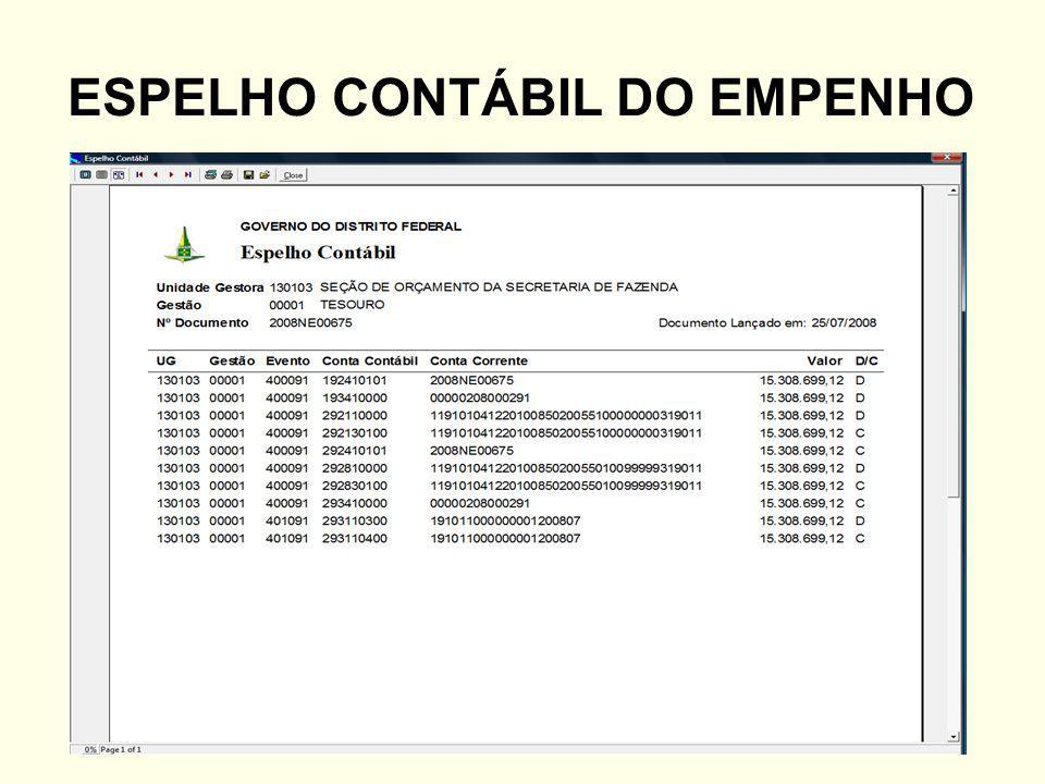 ESPELHO CONTÁBIL DO EMPENHO