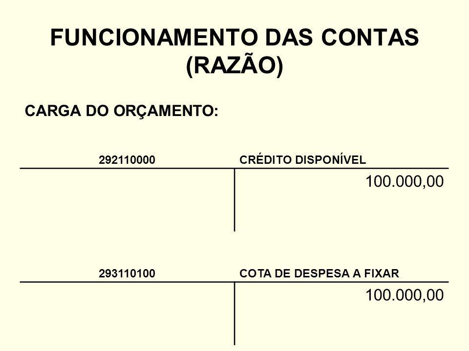 FUNCIONAMENTO DAS CONTAS (RAZÃO)