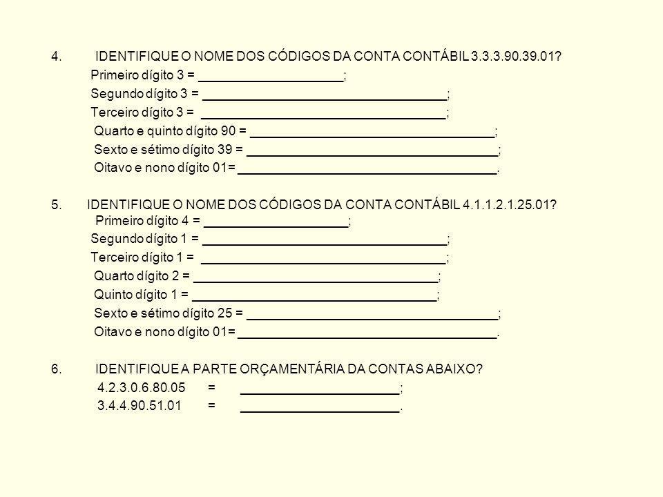 IDENTIFIQUE O NOME DOS CÓDIGOS DA CONTA CONTÁBIL 3.3.3.90.39.01