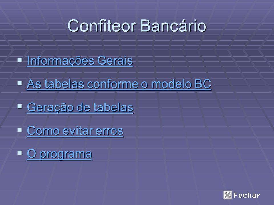 Confiteor Bancário Informações Gerais As tabelas conforme o modelo BC