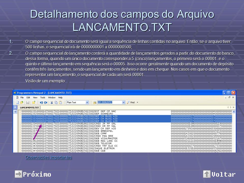 Detalhamento dos campos do Arquivo LANCAMENTO.TXT