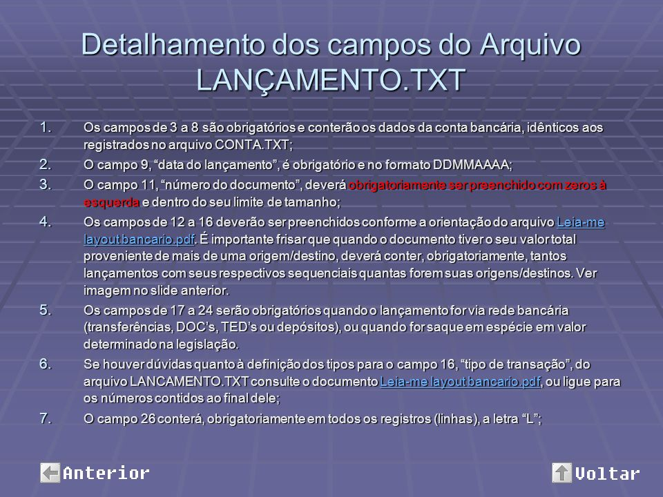 Detalhamento dos campos do Arquivo LANÇAMENTO.TXT