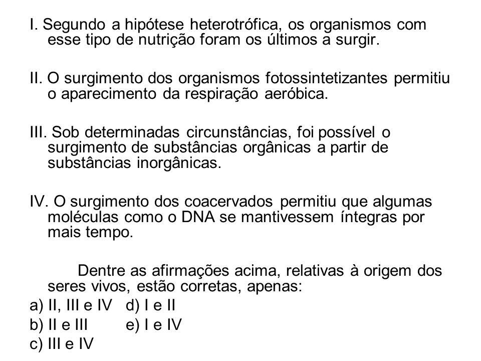 I. Segundo a hipótese heterotrófica, os organismos com esse tipo de nutrição foram os últimos a surgir.