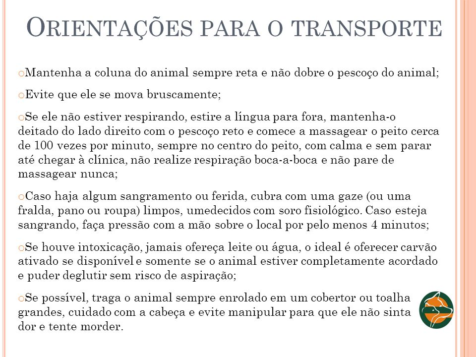 Orientações para o transporte