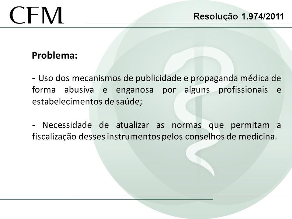 Resolução 1.974/2011 Problema: