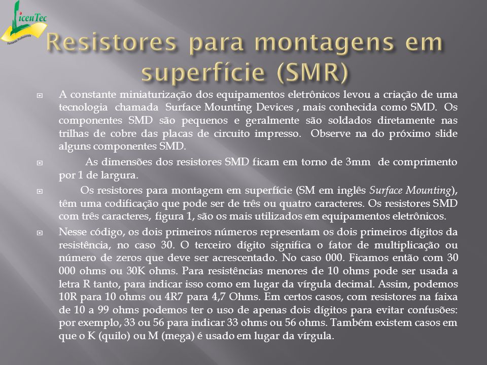 Resistores para montagens em superfície (SMR)