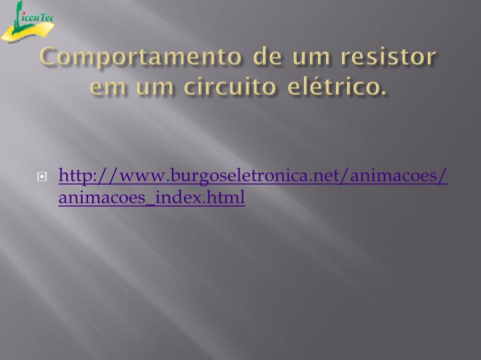 Comportamento de um resistor em um circuito elétrico.