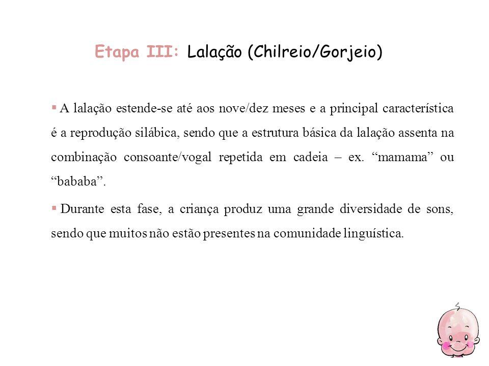 Etapa III: Lalação (Chilreio/Gorjeio)