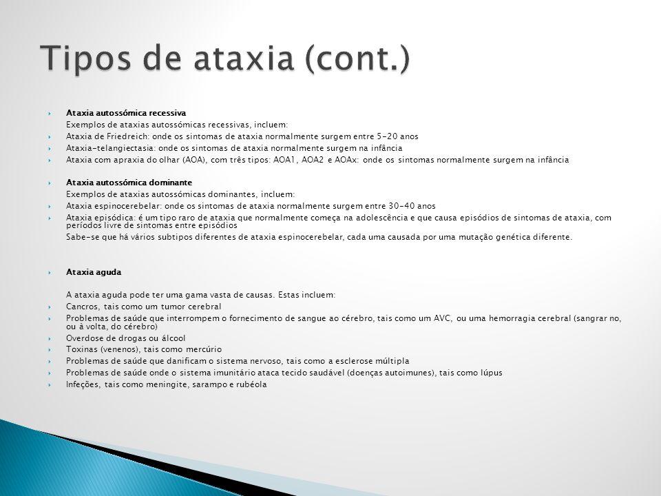 Tipos de ataxia (cont.) Ataxia autossómica recessiva