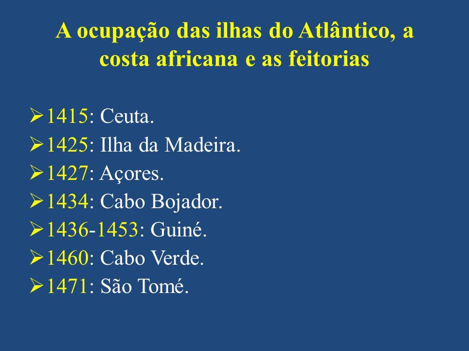 A ocupação das ilhas do Atlântico, a costa africana e as feitorias