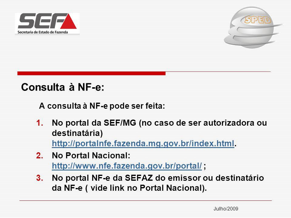 Consulta à NF-e: A consulta à NF-e pode ser feita: