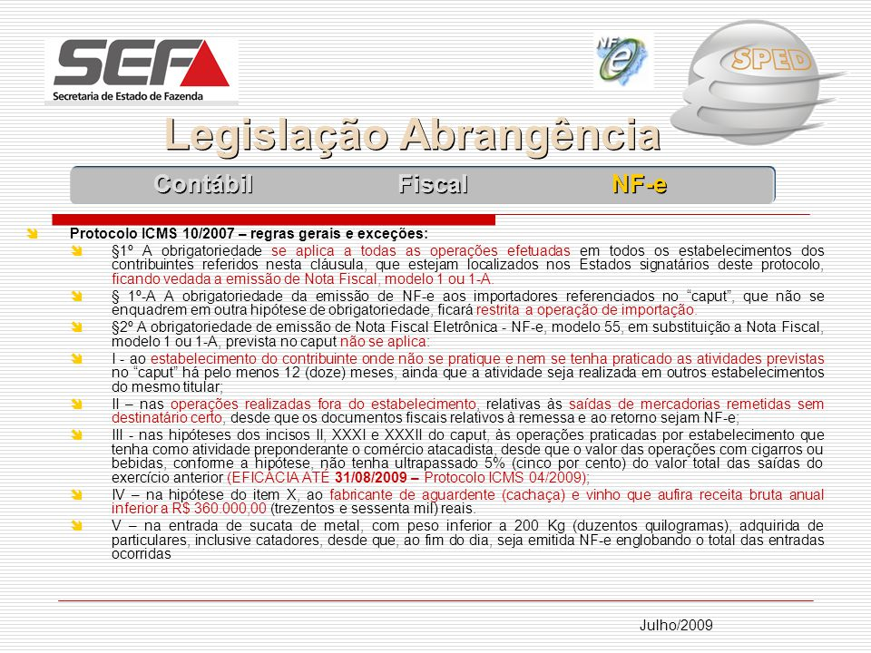 Legislação Abrangência