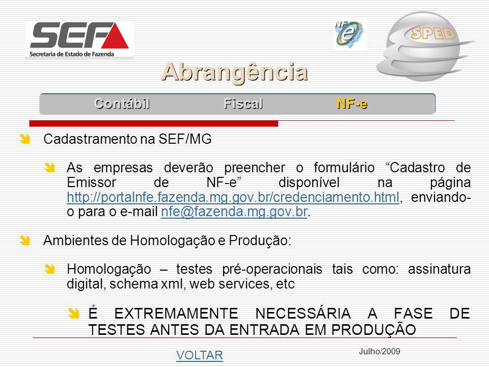 Abrangência Contábil Fiscal NF-e. Cadastramento na SEF/MG.