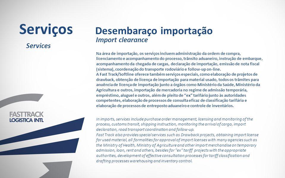 Serviços Desembaraço importação Import clearance Services