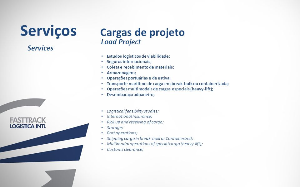Serviços Cargas de projeto Load Project Services