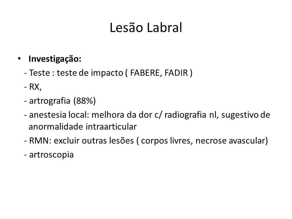 Lesão Labral Investigação: