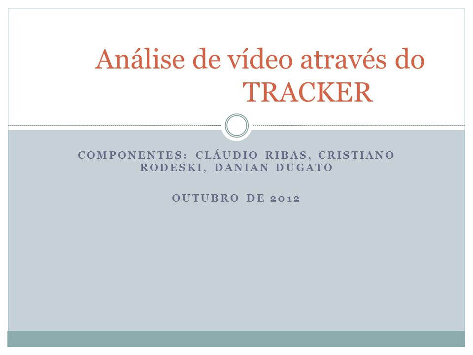 Análise de vídeo através do TRACKER