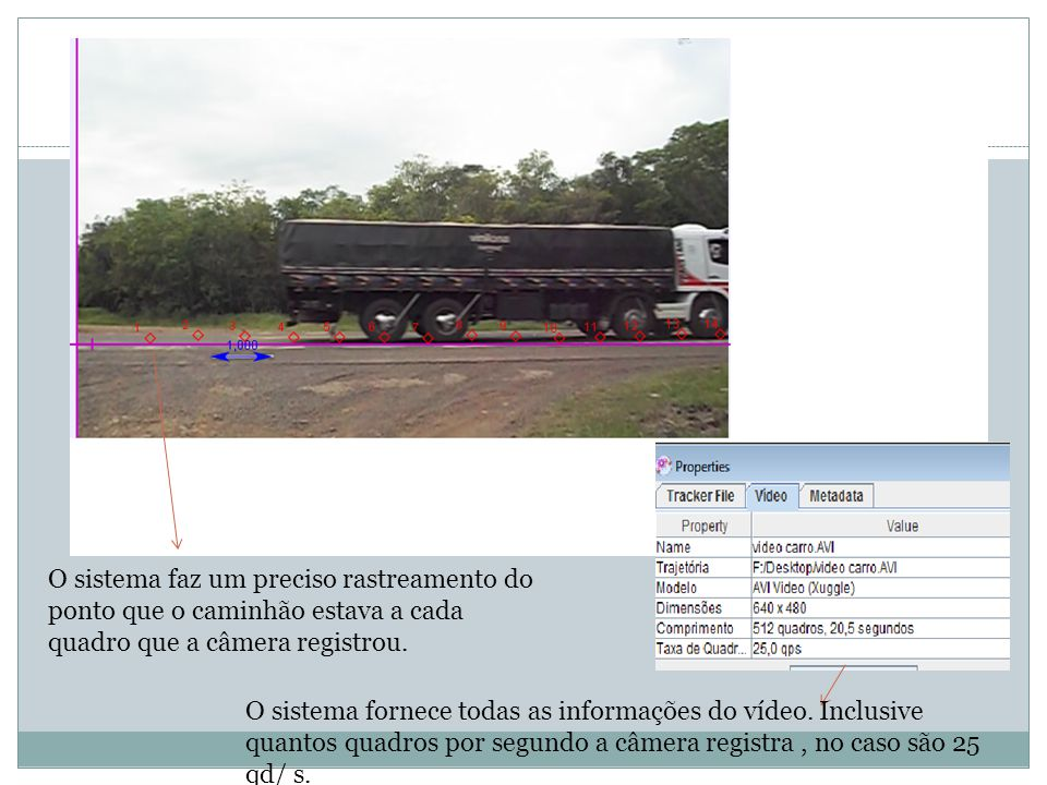 O sistema faz um preciso rastreamento do ponto que o caminhão estava a cada quadro que a câmera registrou.